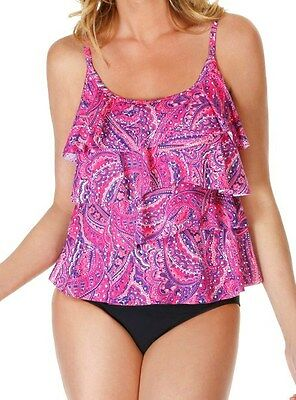 cd4724358508f NWT MSRP $150 MIRACLESUIT Tinted Love Tiering Up Tankini, 2-Piece, Coral  Paisley
