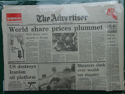 World share prices 1987 share price plunge Wall Street The Advertiser newspaper