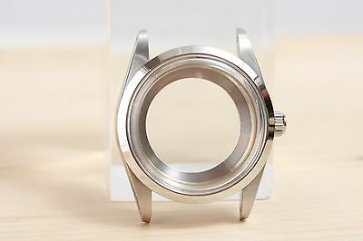 34mm stainless steel oyster case NO cyclop smooth bezel for ETA 2824-2