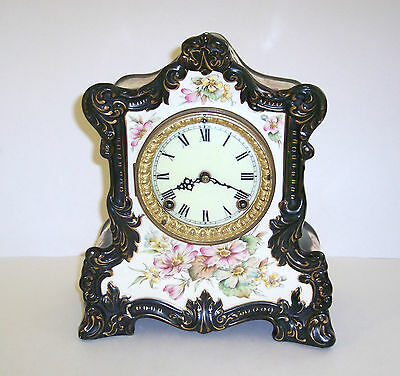 "Antique Ansonia Royal Bonn Mantel Clock, Black w/Floral design, 12"" X 10"" X 5"""
