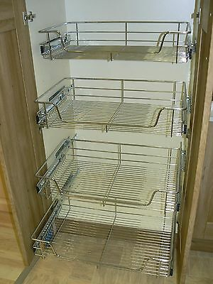 4 X Pull out Wire Basket Chrome Kitchen - Bedroom Drawer Storage (500 or 600mm)