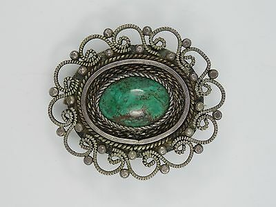 Large Ornate Vintage Sterling Eliat Chrysocolla Stone Pendant Brooch * Israel
