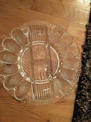 Antique Clear Crystal Deviled Egg Plat No Chips No Cracks Awesome 11 Inches Roun