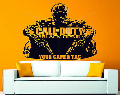 Call of Duty Black Ops 3 Personalised Gamer Tag Decor Vinyl Wall Sticker