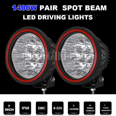 7inch 28800W LED cree Spot Driving Light Round Offroad 4WD HID Black 12V 24V NEW