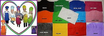 1 CHEF APRON and HAT SET Kids Child Cooking Party School Birthday Assort Colours