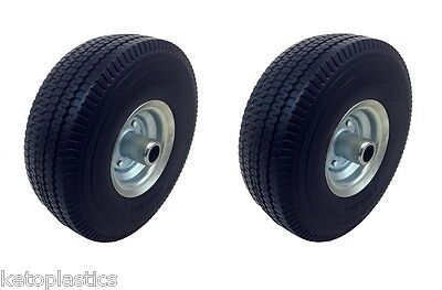 2 x Off Set Galvanised PU Sit On Lawn Mower Wheel Puncture Proof 4.10/3.50 - 4