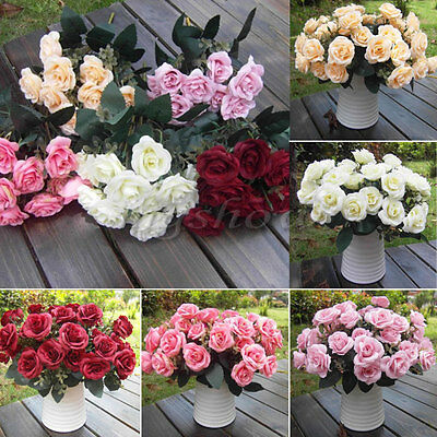 12 Heads Fake Silk Flowers Bouquet Artificial Rose Wedding Floral Decor Plant UK