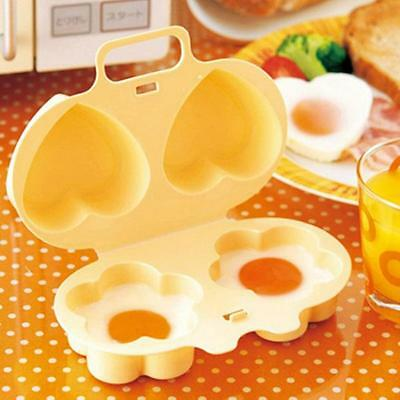 Microwave Oven Love Breakfast Lunch Two Shaped Egg Steamer Cook Poacher Tool FI