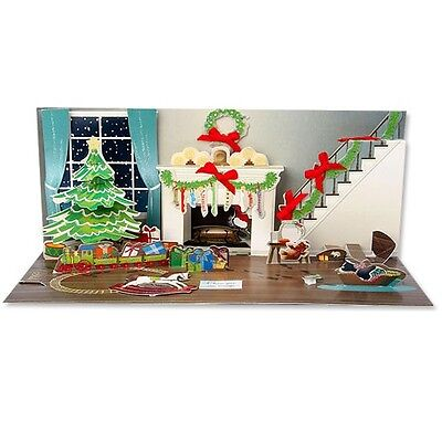 3D Midnight Room Pop Up With Paper Card Santa Christmas New Year Holiday xmas