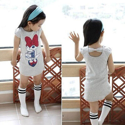 3-8Y Kids Girls Minnie Party Dress Skirt Bow Back T-shirt Tops Children Clothes