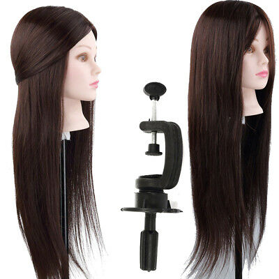 24'' 50% Human Hair Mannequin Salon Practice Model Training Head Hairdressin