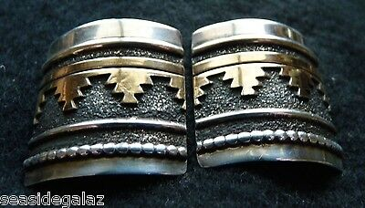 """Humongous!! Tommy Singer  Sterling + 14K  Stamped & Overlay 1""""+ Earrings Signed"""