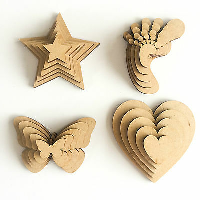Wooden MDF Shapes Hearts Stars Butterfly Bunting Craft Embellishments Decoration