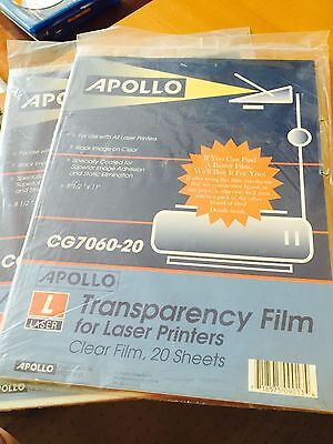Apollo Laser Printer Transparency Film CG7060, 2 packs of 20 sheets each