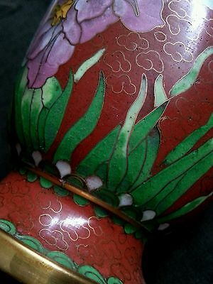 "Vintage Chinese red cloisonne  vase 10.25"" tall"
