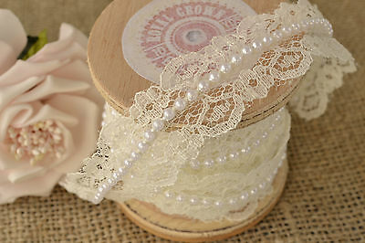 Ivory Pearl and Lace Beaded Trimming - Vintage Style Wedding Bridal Ribbon - 5M