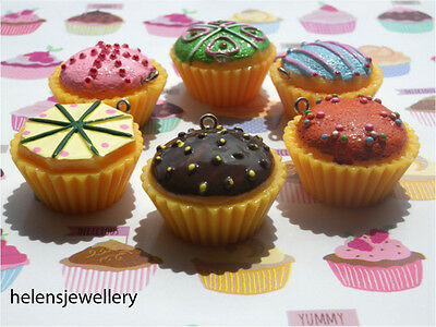 Gorgeous Cup Cake Charms - You Get All 6 Of Them  - Free P&p