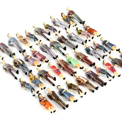 100 O Scale People Figures Mixed Color Pose 1/50 For Model Train Scenery Layout