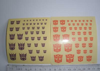 red Autobot decals + purple Decepticon decals two sheets for transformers