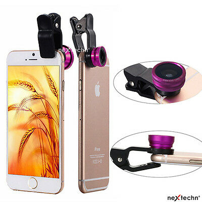 3 in 1 Fish Eye+Wide Angle+Macro Lens For iPhone 5 6 6 Plus Galaxy Android HPink