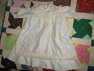 Antique Edwardian/victorian Era White Cotton Baby Gown With Lace