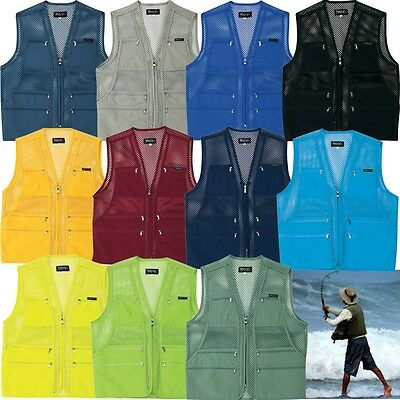 Mens Multi Pockets Fly Fishing Hunting Mesh Vest Mens Travel Outdoor Jacket TopY