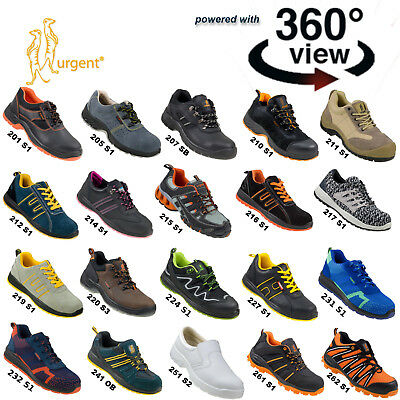 URGENT SAFETY SHOES SHOE WORK STEEL TOE CAP BOOTS 360º View