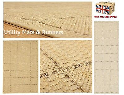 Checked Flatweave Utility Mats Kitchen Rugs Hall Runners Beige Anti Slip Gel