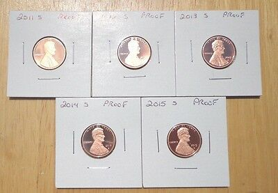 2011 S 2012 S 2013 S 2014 S 2015 S Lincoln Proof Cent Penny 5 Coin Set