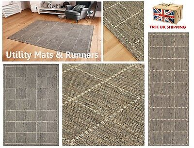 Checked Flatweave Utility Mats Kitchen Rugs Hall Runners Grey Charcoal
