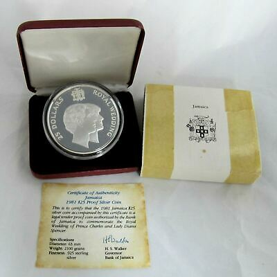 Jamaica 1981 25$ Royal Wedding Charles With Diana .925 Sterling Silver Coin 4oz