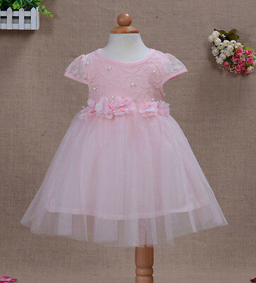 New Baby Christening Party Dress in Ivory Pink Blue Yellow 12-18 to 3-4 Years