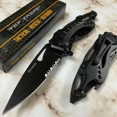 """Tac Force 4.5"""" Closed Serrated Tactical Folding Knife Black """"POLICE"""" Handle"""