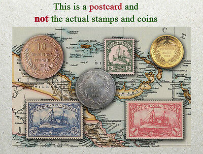 Postcard: German (Germany) New Guinea Stamps and coins of Yester Years