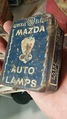 vintage 1940's Service Station  Gas & Oil Advertising  Mazda  GE  Tin Bulb Box
