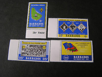 Barbados, Scott # 372-375(4), Complete Set 1972 Bot Scouts Jamboree  Issue Mvlh