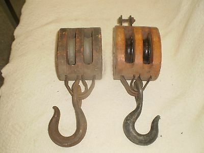 VINTAGE ANTIQUE WOODEN PULLEY LOT OF 2 LOCKPORT BLOCK CO STAR LOGO EARLY NICE ~