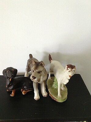 Lot of 3 vintage/antique dog figurines