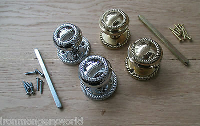 1 pair Solid brass Sprung Georgian mortice lever door knobs pull handles