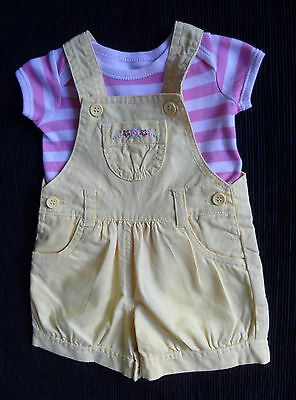 Baby clothes GIRL newborn 0-1m yellow short dungarees/t-shirt 2nd item post-free