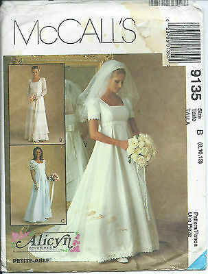 M 9135 sewing pattern Empire Wedding DRESS Bridal GOWN Alicyn Exclusives 8-10-12