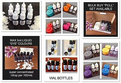 "~CANDLE/MELT/TART MAKING~WAX LIQUID ""DYE/COLOURS""~SUPER CONCENTRATED~5ml BOTTLES"