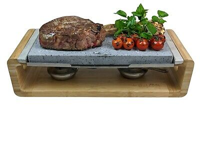 Hot Stone Cooking Steak Set Dinner Black Rock Grill Lava Sizzling Plate HO-44