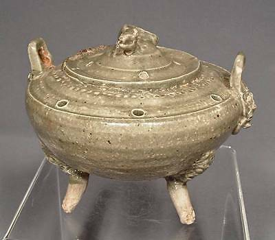 Antique Chinese Liao Dynasty Yue Ware Porcelain Celadon Censer Incense Burner