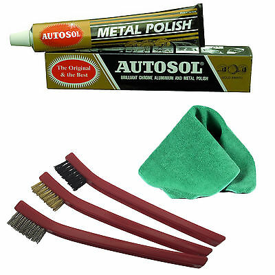 Autosol Solvol Chrome Metal Cleaner & Polish + Cloth + 3pcs Detailing Brush Set