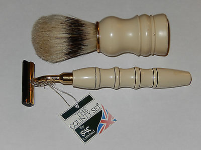 RASOIO SICUREZZA PENNELLO TASSO vintage razor brush barbiere