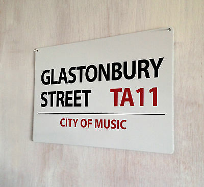 Glastonbury Street Music Festival A4 metal plaque Shabby Chic picture home deco