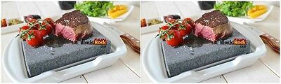 Hot Stone Cooking Steak Dinner Black Rock Grill Lava Sizzling Plate HO-19