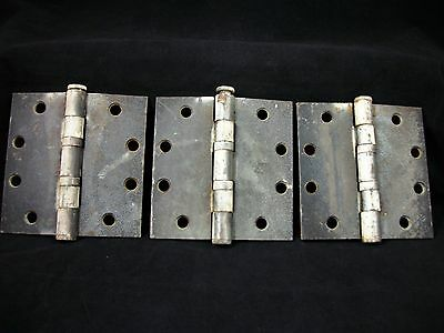 3 Vintage Door Hinges Industrial Ball Bearing McKinney Heavy Factory Steel